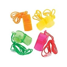 12CT TRANSPARENT NEON WHISTLES Thumbnail