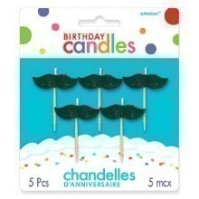 Mustaches Molded Birthday Candles - 5 Count Thumbnail