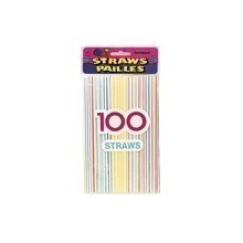 100 COUNT STRIPED PLASTIC STRAWS Thumbnail
