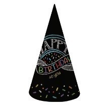 Chalk Birthday Adult Cone Hats - 8 Count Thumbnail