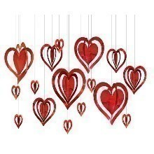 3-D Hanging Foil Hearts Room Decorating Kit Thumbnail