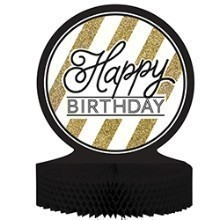 BLACK & GOLD BIRTHDAY CENTERPIECE  Thumbnail