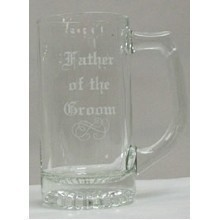 CLEAR GLASS BEER MUG - FATHER OF GROOM Thumbnail