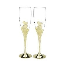 GOLD SPARKLING HEART TOASTING FLUTES Thumbnail