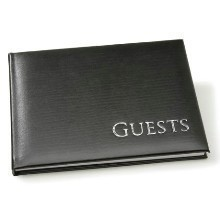BLACK W/SILVER GUEST BOOK Thumbnail