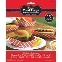 RED CHECKERED PARTY FOOD TRAYS Thumbnail