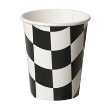 BLACK & WHITE CHECKERED 9oz PAPER CUPS - 8 CT Thumbnail