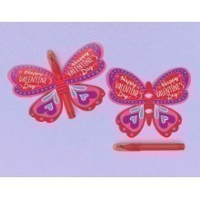 12CT BUTTERFLY WITH PEN VALENTINE CARDS Thumbnail
