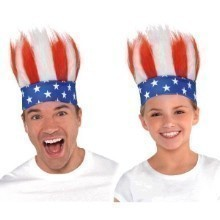 RED/WHITE/BLUE CRAZY HAIR HEADBAND Thumbnail