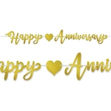 GOLD FOIL HAPPY ANNIVERSARY BANNER Thumbnail