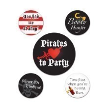 5PK PIRATE PARTY BUTTONS Thumbnail