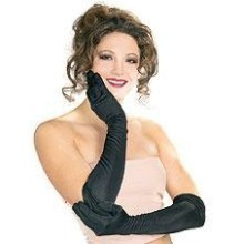 BLACK LONG NYLON GLOVES Thumbnail