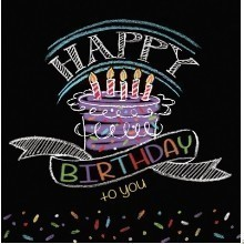 Chalk Birthday Lunch Napkins - 16 Count Thumbnail