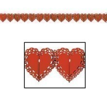 12' LACE HEART TISSUE GARLAND-RED Thumbnail