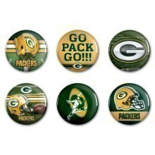 GREEN BAY PACKERS 6 PK FUN BUTTONS Thumbnail