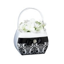 BLACK DAMASK FLOWER BASKET  Thumbnail