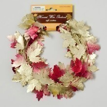 15' HARVEST LEAF WIRE GARLAND WITH GLITTER Thumbnail