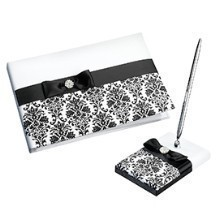 BLACK DAMASK GUEST BOOK WITH PEN  Thumbnail