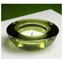 GREEN GLASS TEALIGHT HOLDER Thumbnail