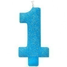 #1 BLUE GLITTER NUMERAL CANDLE  Thumbnail
