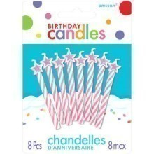 8 COUNT PINK STARS SPIRAL CANDLES Thumbnail