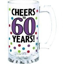 60TH BIRTHDAY GLASS TANKARD - 15 OZ  Thumbnail