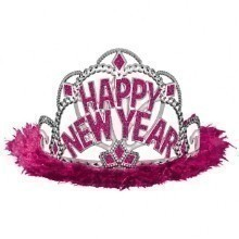 Happy New Year Marabou Tiara - Pink Thumbnail