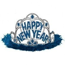 Happy New Year Marabou Tiara - Blue Thumbnail
