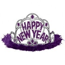Happy New Year Marabou Tiara - Purple Thumbnail