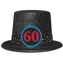 60TH BIRTHDAY GLITTER TOP HAT  Thumbnail