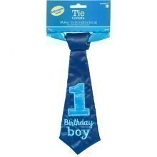 1ST BIRTHDAY BOY FABRIC TIE  Thumbnail