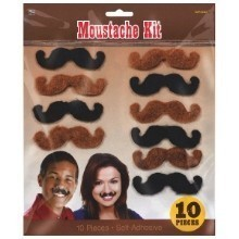 10 piece Western Moustache Kit Thumbnail