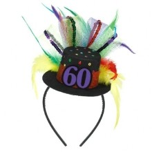 60TH BIRTHDAY FEATHER FASCINATOR  Thumbnail