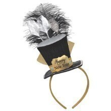 NEW YEAR BLACK SILVER GOLD TOP HAT FASCINATOR Thumbnail