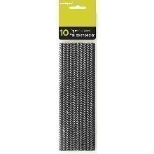 10 COUNT BLACK & WHITE CEVRON PAPER STRAWS Thumbnail