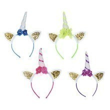 4PK GLITTERED UNICORN HEADBAND Thumbnail