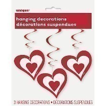 Hanging Hearts Swirl Decorations - 3 Count Thumbnail