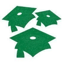 GLITTER MORTARBOARD CUTOUTS 15 CT - GREEN Thumbnail