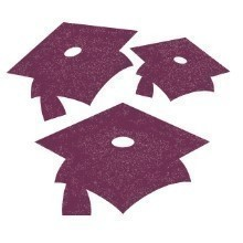 GLITTER MORTARBOARD CUTOUTS 15 CT - BURGUNDY  Thumbnail