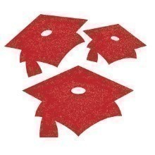 GLITTER MORTARBOARD CUTOUTS 15 CT - RED  Thumbnail