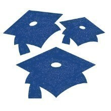 GLITTER MORTARBOARD CUTOUTS 15 CT - BLUE  Thumbnail