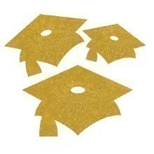 GLITTER MORTARBOARD CUTOUTS 15 CT - YELLOW  Thumbnail